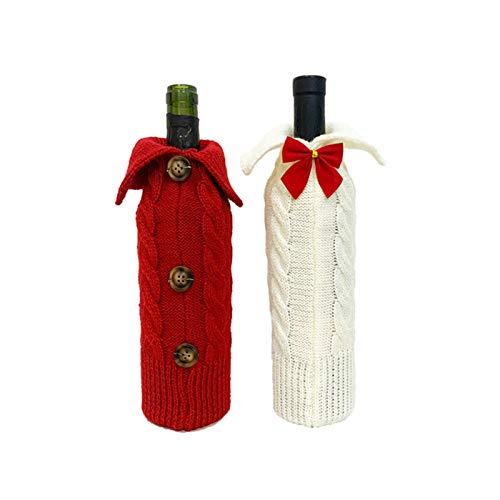 duhe189014 Weinflaschen-Tasche, gestrickt, Weihnachtspullover, Weinflaschenabdeckung, Dekoration, für Party, Weinflaschen, 2 Stück