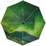 Paraguas automático Radiance Sky Stars Green Travel Conveniente a Prueba de Viento Impermeable Plegable Auto Abrir Cerrar