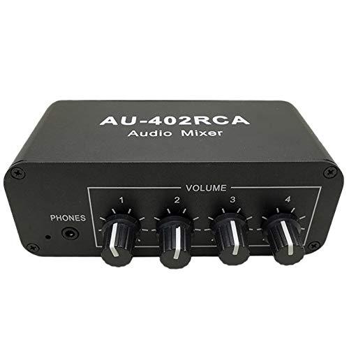 SNOWINSPRING Mezclador RCA de MúLtiples Fuentes Reverberador de Audio EstéReo Conmutador Interruptor de Audio Controlador de 4 Entradas y 2 Salidas Controlador de Volumen de Auriculares