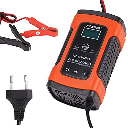 Cargador de Batería de Coche El Mantenedor Automático Inteligente de 12 V Ofrece Carga en 3 Etapas con Pantalla LCD Adecuada para Más Tipos de Baterías,