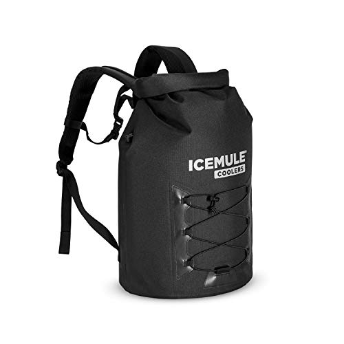 ICEMULE Pro Insulated Backpack Cooler Bag - Hands-Free, Collapsible, Waterproof and Soft-Sided, This Highly Portable Cooler is Ideal for Hiking, The Beach, Picnics, Camping, Fishing-Large, Matte Black