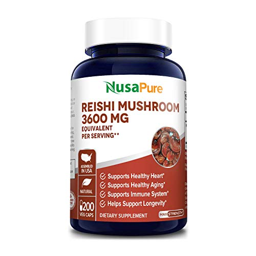 Reishi Mushroom Extract 3600 mg 200 Veggie Caps (Vegan, Non-GMO & Gluten-Free) Supports Heart Health* - Supports Blood Pressure & Hormones in Normal Range*