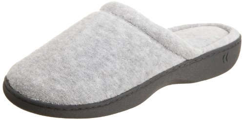 isotoner Women's Classic Terry Clog Slippers Slip on, Heather Grey, Medium / 7.5-8 US