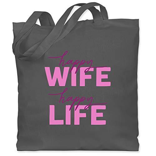Shirtracer Sprüche - Happy Wife Happy Life Lettering Combi rosa - Unisize - Dunkelgrau - jutebeutel rosa - WM101 - Stoffbeutel aus Baumwolle Jutebeutel lange Henkel