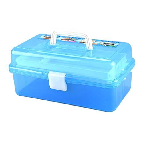 Bonarty Hobby Craft Tool Transparent Blau Toolbox Triple Deck Faltbare Aufbewahrungsbox