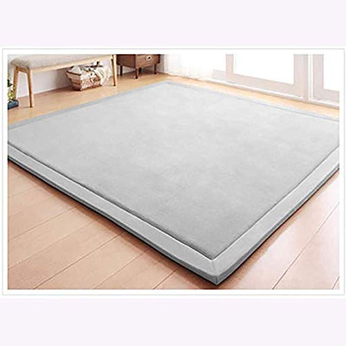 %23 OFF! WSZGR Not-Slip Tatami Rugs,2cm Thick Super Soft Children Play Mat,Grey Coral Velvet Baby Crawling Mat,Kids Safe Carpets Thickness:2cm200x280cm/79x110inch