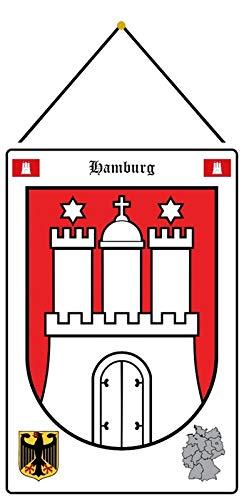 Blechschild 20x30cm gewölbt mit Kordel Hamburg Wappen Deko Geschenk Schild Tin Sign