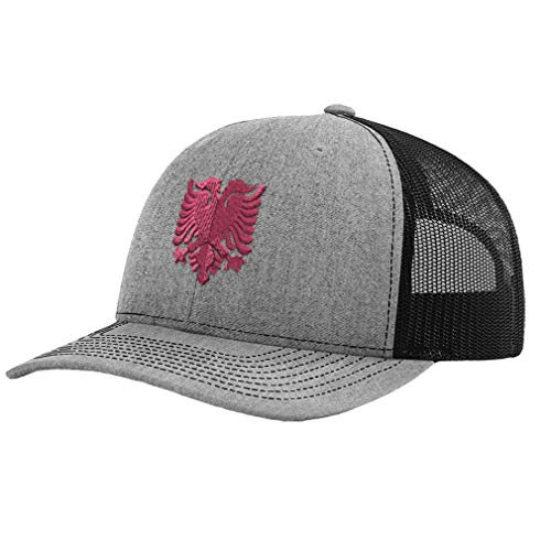 Richardson Trucker Hat Pink Albanian Eagle Albania Embroidery Polyester Baseball Cap Snapback Heather Grey Black Design Only