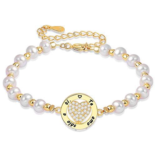 LOVORDS Pulsera Mujer Grabado Plata de Ley 925 Corazón Círculo Perlas Cultivadas Blancas de Agua Dulce Regalo Amor Esposa Novia