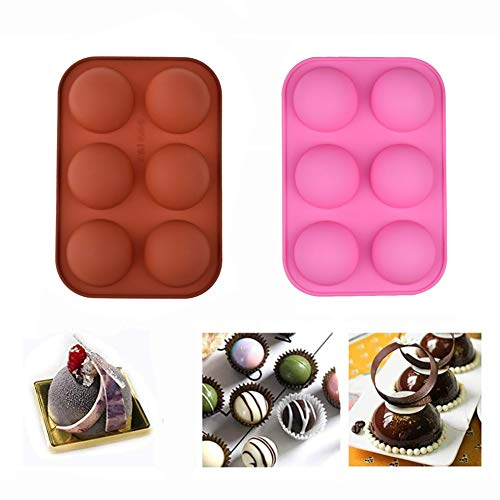 6-Cavity Semi Sphere Silicone Mold mousse cake silicone baking mold, used to make hot chocolate bombs, cakes, jelly, 3D hemispherical baking non-stick molds (2pcs)