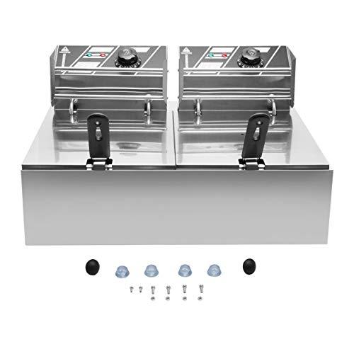 Due vasche con doppia friggitrice elettrica professionale in acciaio inox con coperchio doppio Cestini 2 x 10 litri (colore: argento)