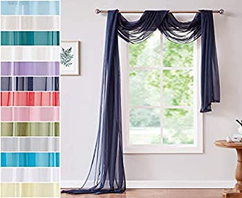 Red Co Semi Sheer Navy Window Scarf 56 by 288 Inches Long Decorative Curtain Accent Window Valance