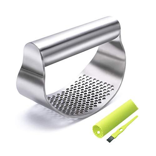 GuDoQi Garlic Press Stainless Steel, Garlic Chopper, Dishwasher Safe, Ergonomic Handle Garlic Mincer, Including Silicone Peeler, Cleaning Brush, Funny Kitchen Tools