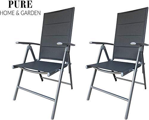 Pure Home & Garden 2 x Textilen Klappsessel Bolero Padded in Silber - Taupe mit Aluminiumgestell, mehrfach verstellbar und gepolstert