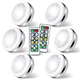 LED Puck Lights with Remote Battery Operated,Wireless Led Lights, Under Cabinet Lighting,Dimmable Cabinet Lights,Closet LightsStick on Anywhere Indoor,4000K Natural White, 6 Pack