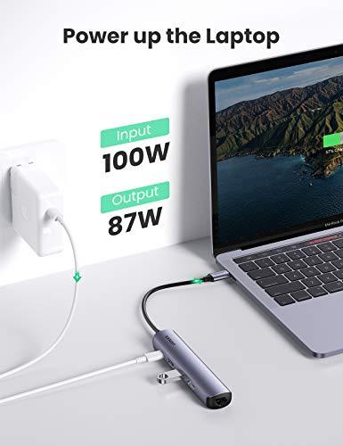 UGREEN USB C Hub HDMI USB-C Adapter mit 4K HDMI, 2 x USB 3.0, Ethernet und 100W PD kompatibel mit MacBook Air 2020, iPad Pro 2018/2020, Surface Pro 7, XPS15 (Spacegrau)