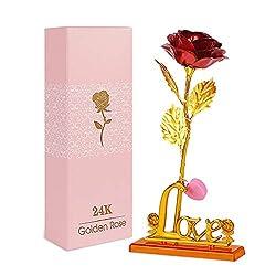 Zorara 24K Gold Rose, Galaxy Rose Geschenk, Rose Handgefertigt Konservierte Rose mit Licht, Präsentationsständer und Geschenkbox für Hochzeit, Muttertag, Geburtstag, Valentinstag, Jahrestag (Rot)