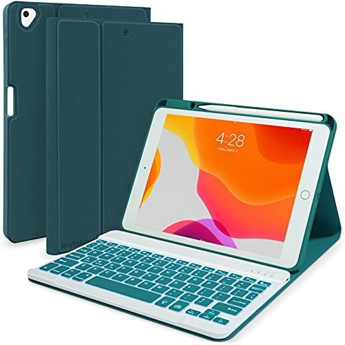 iPad Keyboard Case 9th/8th/7th Generation 2021/2020/2019, Keyboard Case for iPad 10.2/10.5 2017 with Pencil Holder-7 Backlit-Detachable Wireless BT Keyboard for iPad 7th/iPad Air 3/iPad Pro 10.5(Teal)