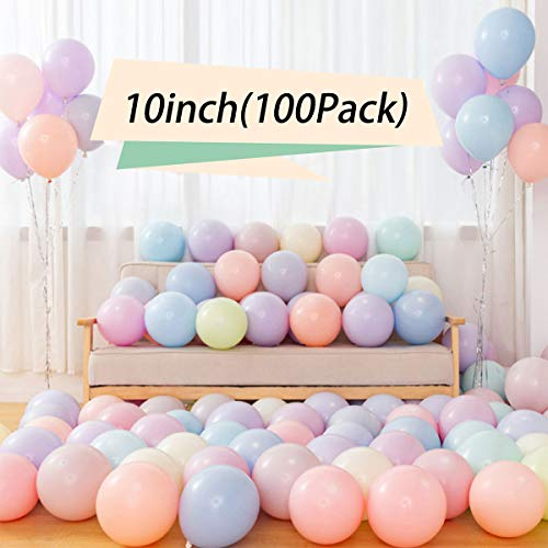 TAOHUIEU 100pcs Pastell Latex Ballons 10inch Macaron Candy farbige Latex Party Ballons für Geburtstagsfeiern, Eröffnungszeremonien, Produkt-Promotionen, Hochzeiten Party liefert Bogen BallonTurm