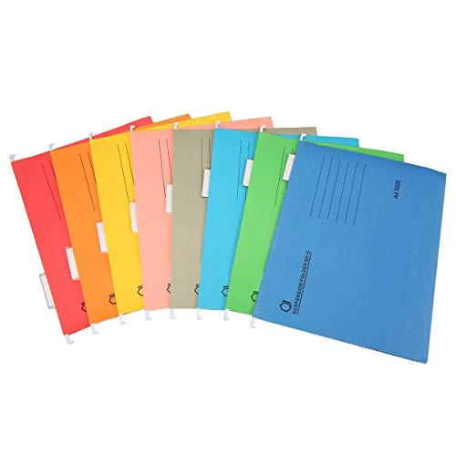 8 carpetas colgantes, tamaño A4, para organización de archivos de oficina, 8 colores