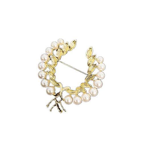 Broche de modelado de rama de olivo Broche de suéter Pin de cuello de traje Broche de trigo-Color dorado