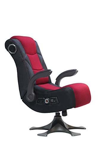 X Rocker 2.1 Sound Wireless Bluetooth 4 Speaker Video Gaming Chair with Pedestal Base & High Tech Audio 4' Subwoofer - Tilt & Swivel Design w/ Lumbar Support, Pivoting Arm Rests -Black/Fuchsia 5129101
