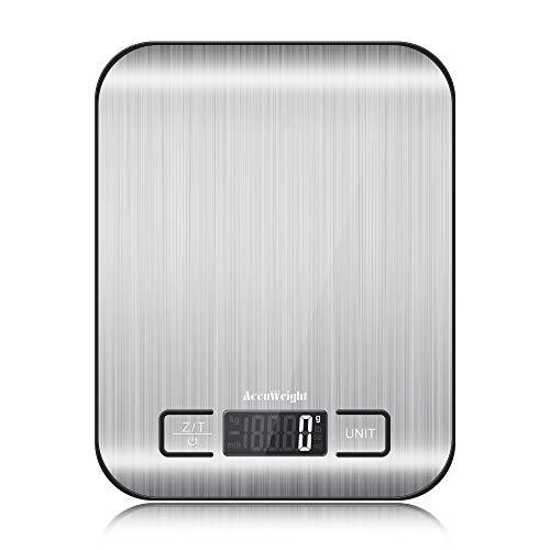 ACCUWEIGHT IC211 Bilancia Cucina Digitale bilancia alimenti con Funzione Tara, Alta Precisione in Acciaio Inossidabile Bilancia Elettronica per la Casa e la Cucina, 5 kg / 11 lbs