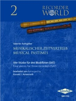 Repetidor de tiempo musical – arreglos para tres flauta de bloque – (SAT) [partituras/partituras] Compositor: Ratgeber John Valentin, de la serie: Recorder World 2
