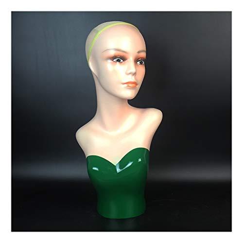 Ffshop Schmuckständer Perücke Modell Kopf Dame Kopf-Form-Perücke-Hut-Schal Mall Display-Perücke Kopfmodell Props mit realistischen Gesicht Funktionen Design Armreifanzeige (Color : Green)