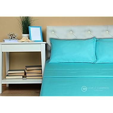 Coit & Campbell Queen Sheet Set Deep Pocket Premium Hotel Collection 600 Thread Count 100% Cotton Sateen, Aqua Blue