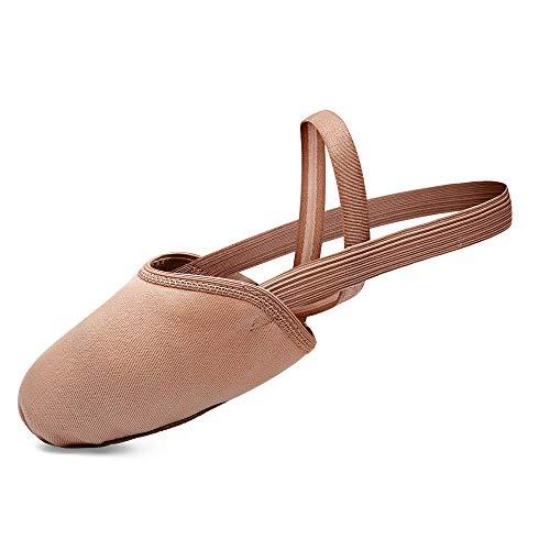 Stelle Pirouette Dance Half Sole Canvas Shoes Turning Shoes for Ballet Jazz Girls/Women/Boy/Men/Adult (Tan, 10.5/11.5)