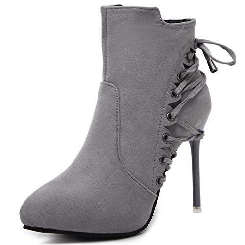 WTMLK Nuevos tacones finos sexys elegantes cordones de zapatos puntiagudos zapatos de invierno para mujer de oficina botas de mujer para mujer, gris, 6,5