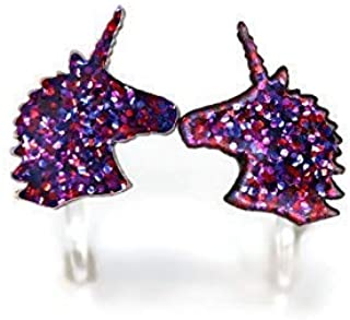 Invisible Clip On Unicorn Earrings for Non-Pierced Ears, 10mm Purple Pink