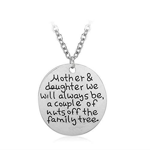 Price comparison product image MagicW Gift for Mom Mom and Daughter We Will Always be Family Tree Pendant Necklace Love Mom Charm Necklace from Daughter
