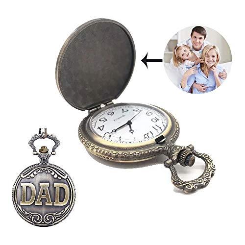Papa Taschenuhr mechanisch aufziehen Skelett Zifferblatt Bronze Custom Photo Vintage Papa Vatertag Taschenuhr mit Kette Geschenk arabische Ziffern Uhr
