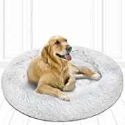 Friends Forever Donut Cat Bed, Faux Fur Dog Beds for Large Medium Dogs - Self Warming Indoor Round Pillow Cuddler Arctic Silver D36+8""