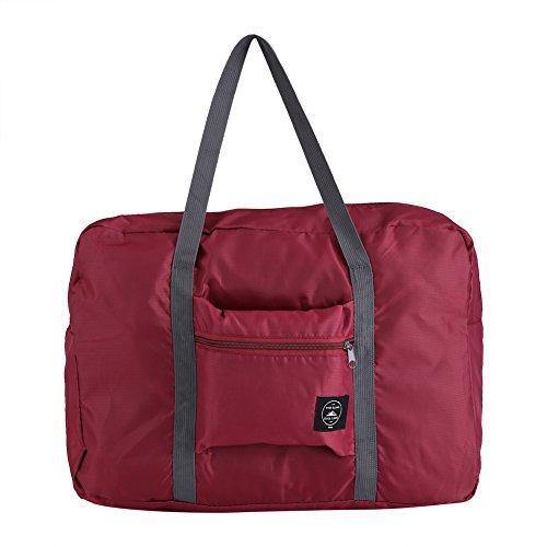 Zerodis Faltbare Reisetasche, wasserdicht, leicht, Reisegepäck, Aufbewahrungstasche, Organizer, Weinrot
