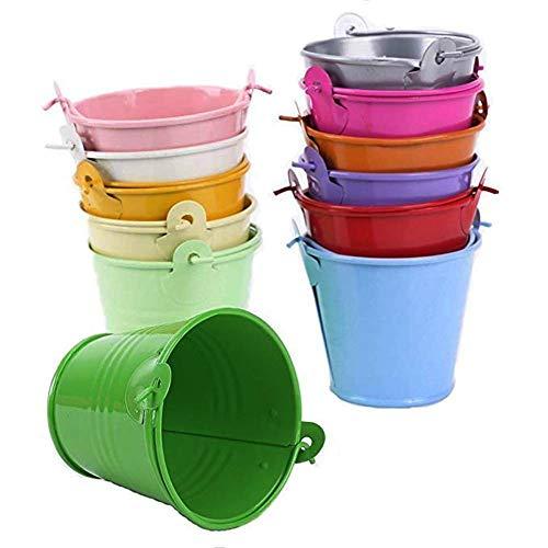 Kentop Lot de 12 mini seaux en métal - Petits pots de fleurs suspendus - Pour pots de fleurs à suspendre - Pour balcon, jardin - Décoration pour invités