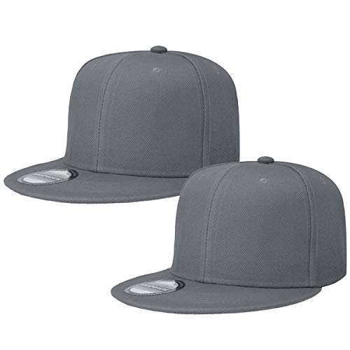 Classic Snapback Hat Cap Hip Hop Style Flat Bill Blank Solid Color Adjustable Size (One Size, 2pcs Grey & Grey)