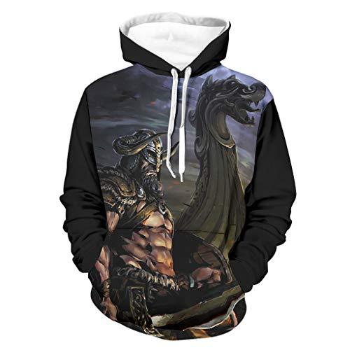 Shinelly Sudadera con capucha con diseo de espada vikinga, diseo de barco de dragn, manga larga, con bolsillos, para uso diario Negro M