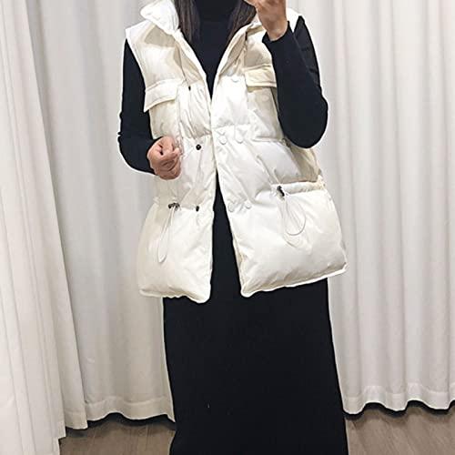 Chaleco cálido Otoño Invierno Mujer Moda Chaleco Sin Mangas Chaleco Bolsillos Botones Abajo Chaleco Abrigo Cálido De Talla Grande 2XL para Mujer M Blanco