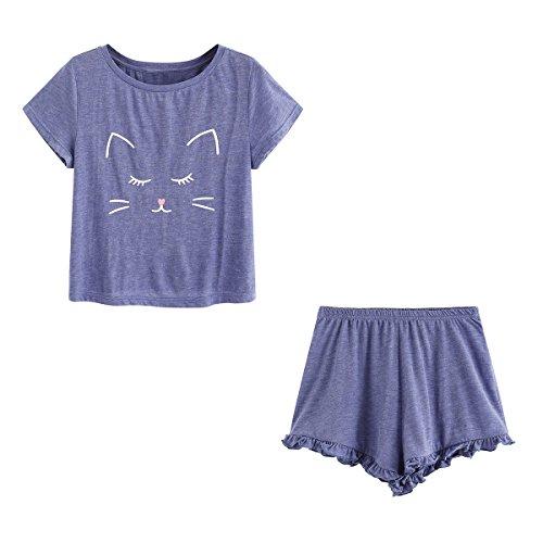 DIDK Damen Schlaf Anzug Set mit Katzen-Druck Top und Short Pyjama Set Lila XS