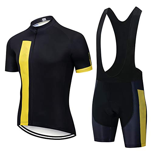 Camiseta De Ciclismo Unisex, Camiseta De Bicicleta Transpirable De Manga Corta Y Culotte con Tirantes con 3 Bolsillos Traseros L Negro