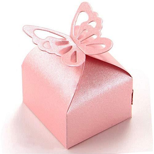 Aweisile 50 Stück Geschenkbox Baby Süßigkeit Kästen Gastgeschenk Box Schachtel Schmetterling Geschenkbox DIY Bonbon Box für Hochzeit Geburtstag Party Baby Shower Babyparty Gastgeschenke Taufe Mädchen