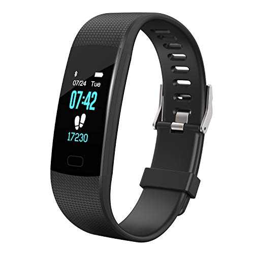 Apirka Fitness Tracker HR, Activity Tracker Watch with Heart Rate Monitor, IP67 Waterproof Pedometer. Sleep Monitor, Step Counter, Calories Counter for Women, Men, Kids (Black)