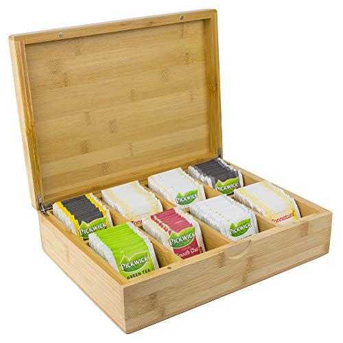 Große Tee Box aus Bambus mit 8 Staufächern für 160 Teebeutel [23x30,2x8,4cm] | Bio Bambus Tee-Box | Teebeutelbox | Tee Box mit Deckel aus Bambus Holz | Teebeutel Aufbewahrungsbox | Teebox groß