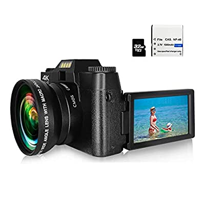 Digital Camera Video Camera 4K 48MP Full HD Camera with WiFi, Vlogging Camera with 16X Digital Zoom and 3.0 Inch 180 Degree Rotation Flip Screen, Vlog Camera for YouTube with 32G Micro Card by KIDSCAM