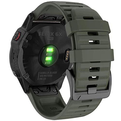 YOOSIDE Quick Easy Fit Watch Band for Garmin Fenix 6X Pro/Sapphire,26mm Soft Non-allergenic Silicone Sport Waterproof Wristband Strap for Garmin Fenix 5X/5X Plus,Fenix 3,Quatix 3,Tactix Bravo (Green)