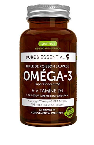 Pure & Essential Huile de Poisson Sauvage Oméga-3 Super Concentrée & Vitamine D3, 410 mg EPA & 250 mg DHA par capsule, 1-par-jour, 60 capsules