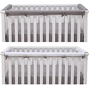 crib bedding and baby bedding belsden baby safe 3 pack crib rail cover set for 1 long and 2 side rails, reversible breathable padded crib teething guard protector for boys girls, measure up to 8 inches around, gray and white color